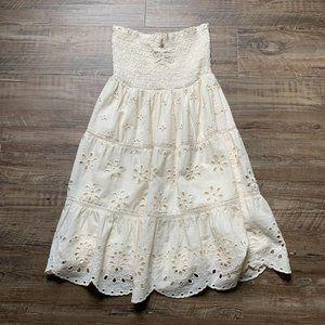 American Eagle Ivory Spaghetti Strapless Dress